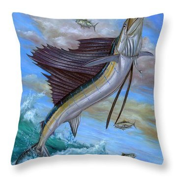 Jumping Sailfish Throw Pillow by Terry Fox