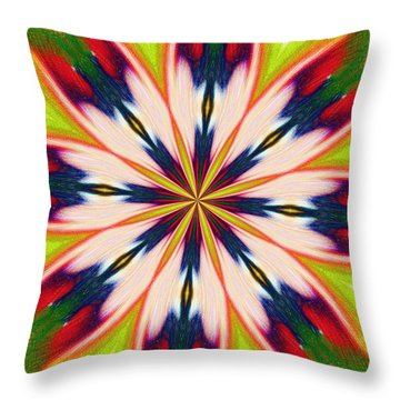 Jungle Flower Bloom Throw Pillow by Alec Drake