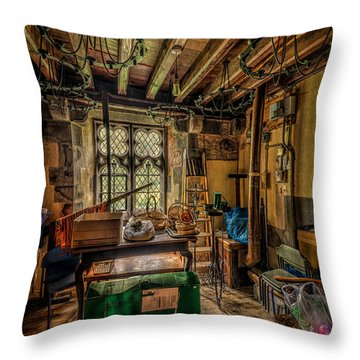 Junk Room Throw Pillow by Adrian Evans