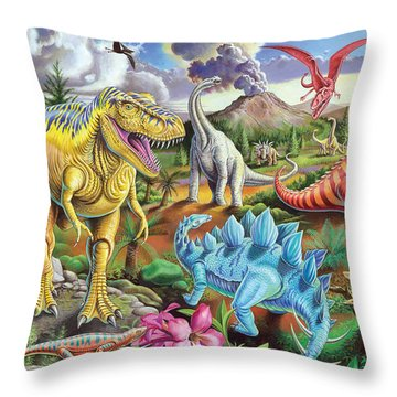 Jurassic Jubilee Throw Pillow by Mark Gregory