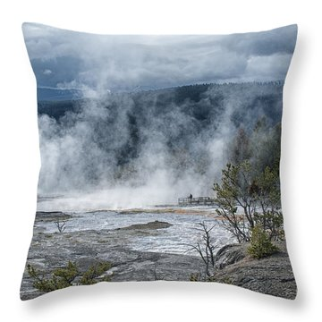 Just Before The Storm - Mammoth Hot Springs Throw Pillow by Sandra Bronstein