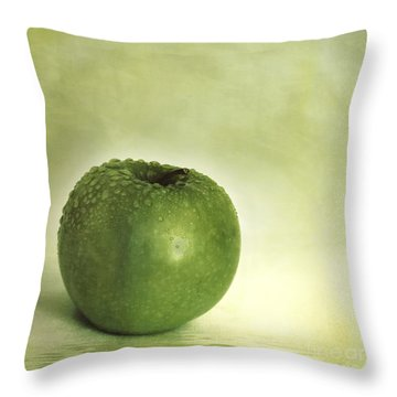 Just Green Throw Pillow by Priska Wettstein