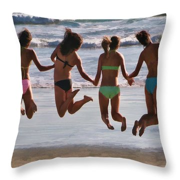 Just Jump Throw Pillow by Tammy Espino