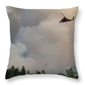 Throw Pillow featuring the photograph K-max Helicopter On Myrtle Fire by Bill Gabbert