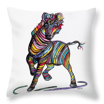 Kaleidoscope Zebra -- Baby Strut Your Stuff  Throw Pillow by Eloise Schneider