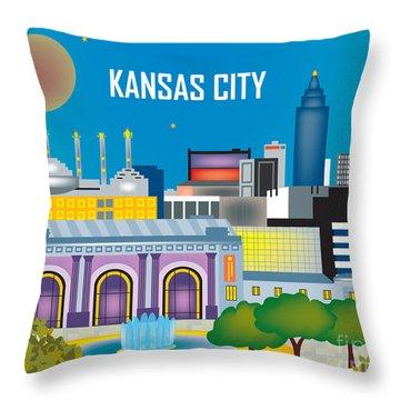 Kansas City Throw Pillow by Karen Young
