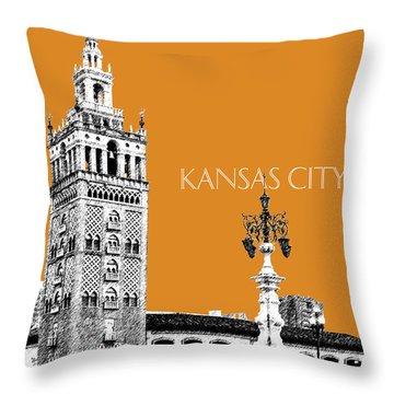 Kansas City Skyline 2 - Dark Orange Throw Pillow by DB Artist
