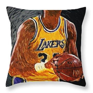 Kareem Abdul-jabbar Throw Pillow by Taylan Apukovska