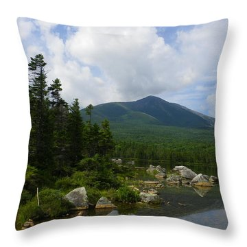 Katahdin From Sandy Stream Pond Throw Pillow by Georgia Hamlin