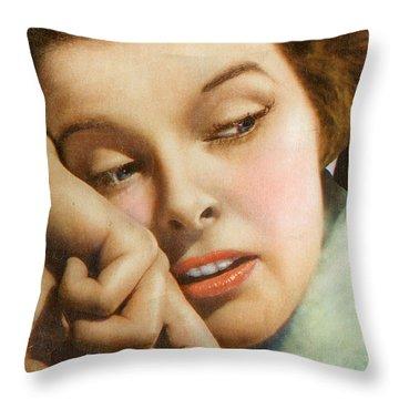 Kathryn Hepburn Throw Pillow by Studio Artist