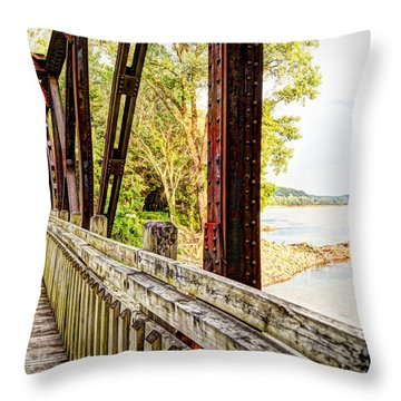 Katy Trail Near Coopers Landing Throw Pillow by Cricket Hackmann