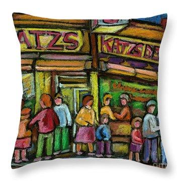 Katz's Deli Throw Pillow by Carole Spandau