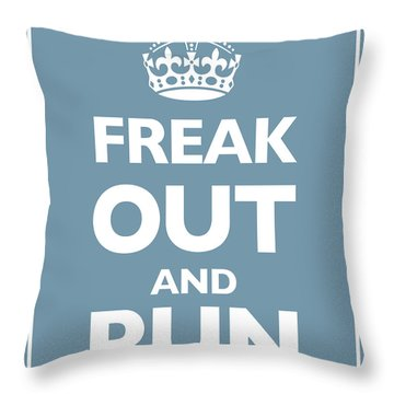 Keep Calm And Carry On Parody Blue Throw Pillow by Tony Rubino