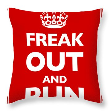 Keep Calm And Carry On Parody Red Throw Pillow by Tony Rubino