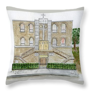 Kelly Temple Church In Harlem Throw Pillow by AFineLyne