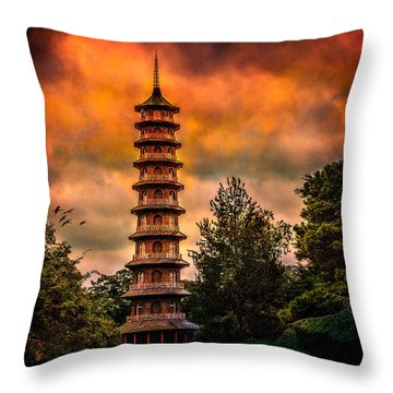 Kew Gardens Pagoda Throw Pillow by Chris Lord