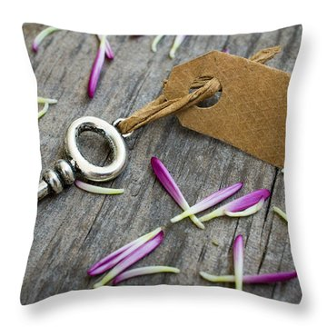 Key With A Label Throw Pillow by Aged Pixel