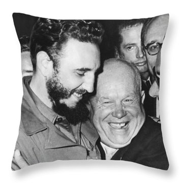 Khrushchev And Castro Throw Pillow by Underwood Archives