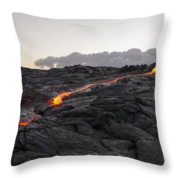 Kilauea Volcano 60 Foot Lava Flow - The Big Island Hawaii Throw Pillow by Brian Harig