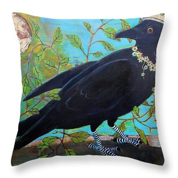 King Crow Throw Pillow by Blenda Studio