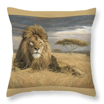 King Of The Pride Throw Pillow by Lucie Bilodeau