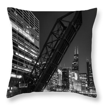 Kinzie Street Railroad Bridge At Night In Black And White Throw Pillow by Sebastian Musial
