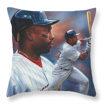 Kirby Puckett Minnesota Twins Throw Pillow by Dick Bobnick