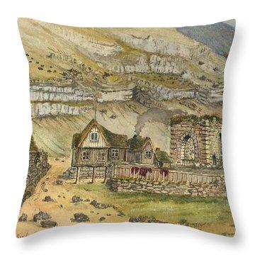 Kirk G Boe Inn And Ruins Faroe Island Circa 1862 Throw Pillow by Aged Pixel