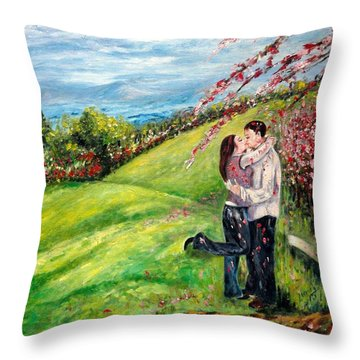 Kiss Throw Pillow by Harsh Malik