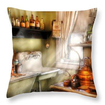 Kitchen - Momma's Kitchen  Throw Pillow by Mike Savad