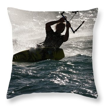 Kite Surfer 02 Throw Pillow by Rick Piper Photography