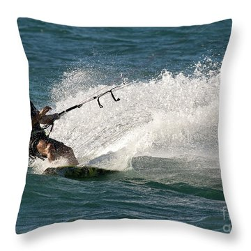 Kite Surfer 04 Throw Pillow by Rick Piper Photography