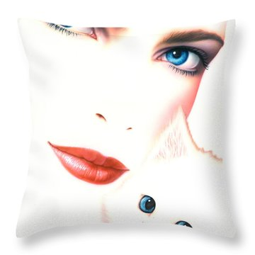 Kitten Love Throw Pillow by Andrew Farley