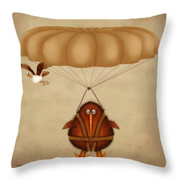 Kiwi Bird Kev Parachuting Throw Pillow by Marlene Watson
