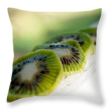 Kiwi Four Throw Pillow by Gwyn Newcombe