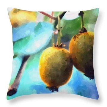 Kiwi Fruit Ripening On A Tree Throw Pillow by Lanjee Chee