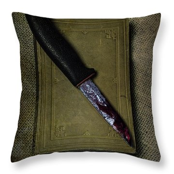 Knife With Book Throw Pillow by Joana Kruse