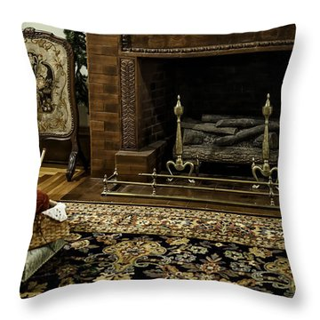 Knitting In Front Of A Vintage Fireplace Throw Pillow by Lynn Palmer