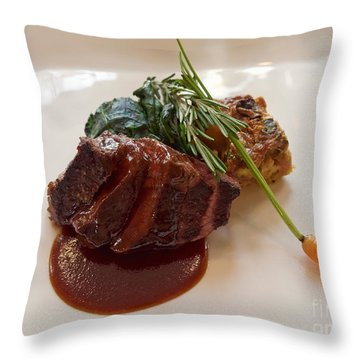 Kobe Beef With Spring Spinach And A Wild Mushroom Bread Pudding Throw Pillow by Louise Heusinkveld