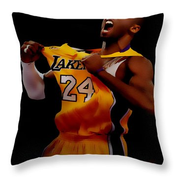 Kobe Bryant Sweet Victory Throw Pillow by Brian Reaves