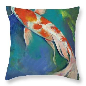 Kohaku Butterfly Koi Throw Pillow by Michael Creese
