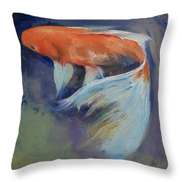 Koi Fish Painting Throw Pillow by Michael Creese