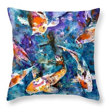 Koi Impression Throw Pillow by Zaira Dzhaubaeva