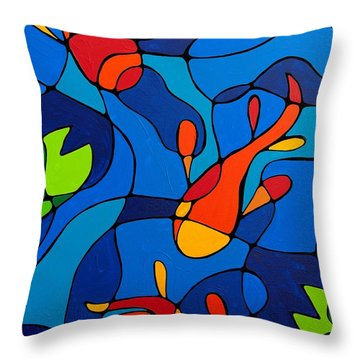 Koi Joi - Blue And Red Fish Print Throw Pillow by Sharon Cummings