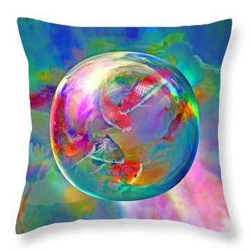 Koi Pond In The Round Throw Pillow by Robin Moline