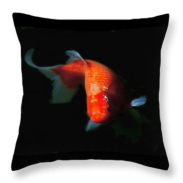 Koi Throw Pillow by Rona Black