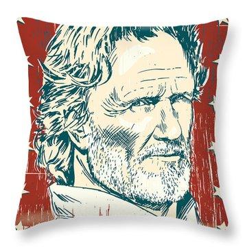 Kris Kristofferson Pop Art Throw Pillow by Jim Zahniser