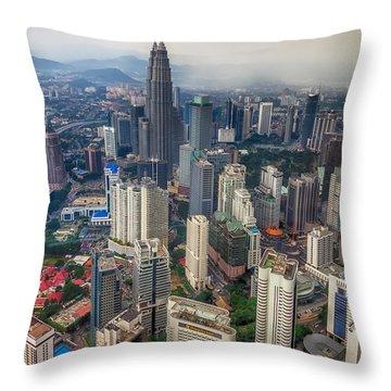 Kuala Lumpur City Throw Pillow by Adrian Evans