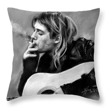 Kurt Cobain Guitar  Throw Pillow by Viola El