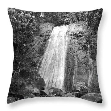 La Coca Falls El Yunque National Rainforest Puerto Rico Print Black And White Throw Pillow by Shawn O'Brien
